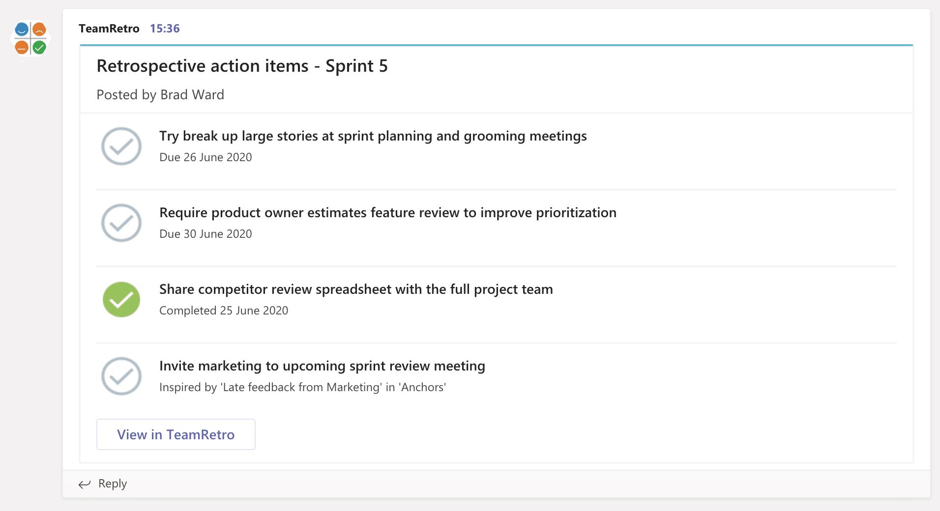 Microsoft Teams Retrospective Action Items